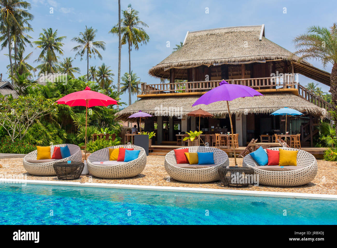 Tropical resort with a swimming pool and cafe bar on Koh Kood island, thailand Stock Photo