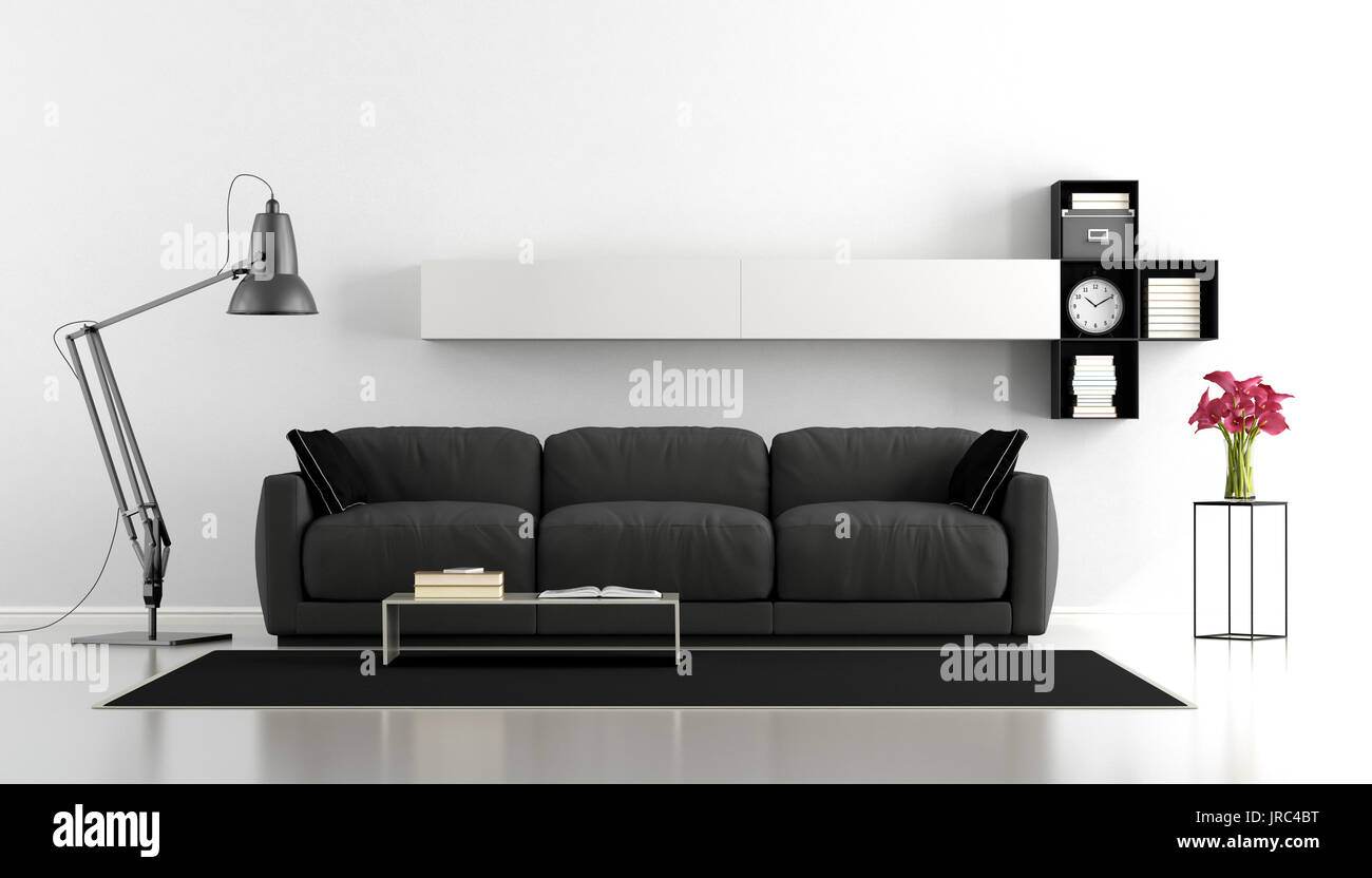 Black and white minimalist living room with sofa, floor lamp and ...