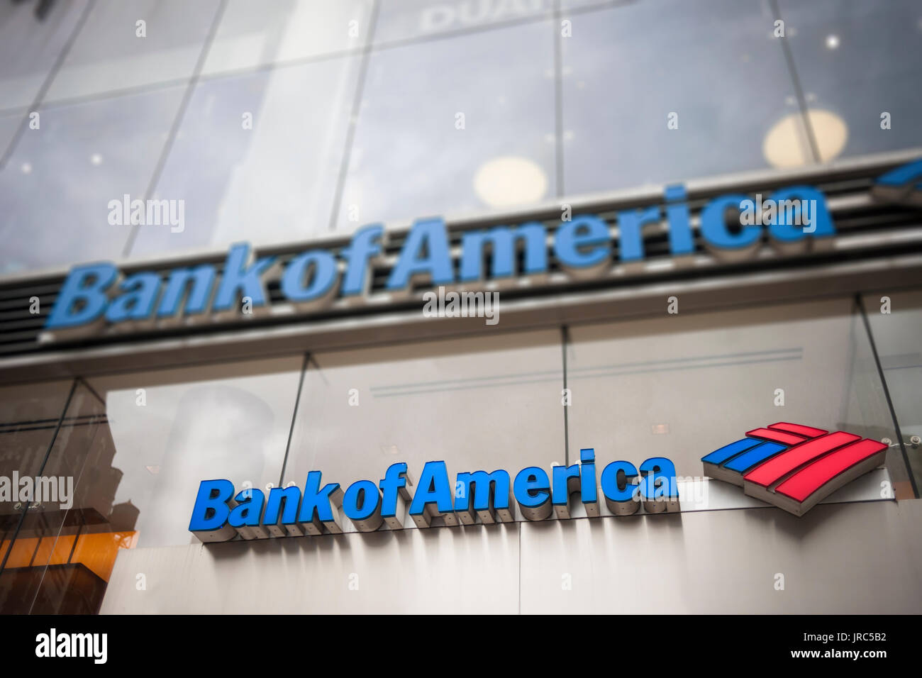 A branch of Bank of America in New York on Saturday, July 29, 2017. (© Richard B. Levine) - Stock Image