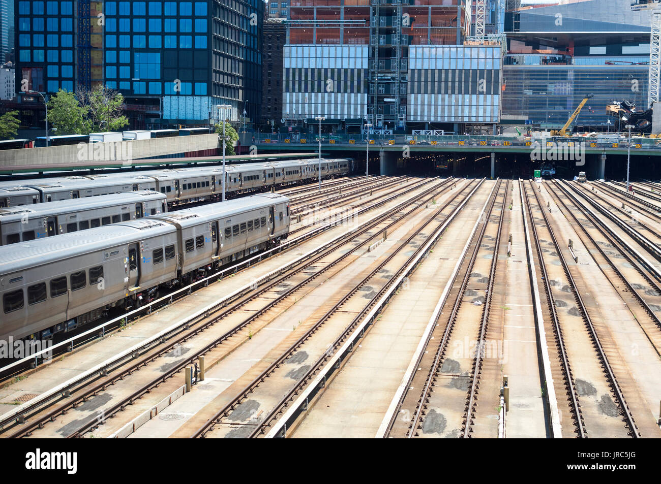 Empty tracks in the Hudson Yards leading into Penn Station on Sunday, July 30, 2017 as Amtrak repairs interlockings Stock Photo
