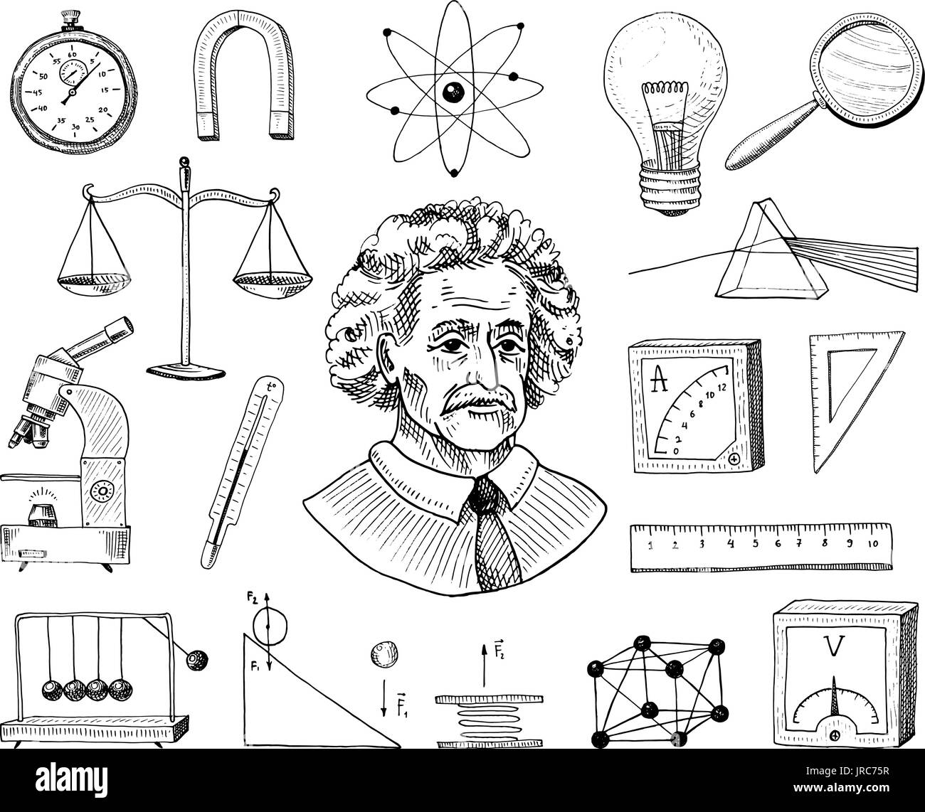 Atom and voltmeter with perpetual motion, circuit and graph ...
