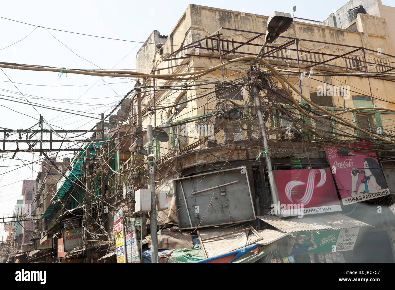 electrical wiring in delhi india on the street stock photo rh alamy com India Telephone Wiring Stealing Electric Lines India