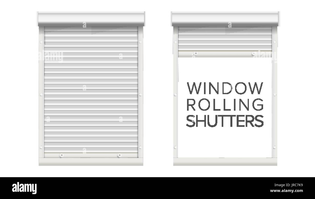 Window With Rolling Shutters Vector. Opened And Closed. Front View. Isolated On White Illustration. - Stock Vector