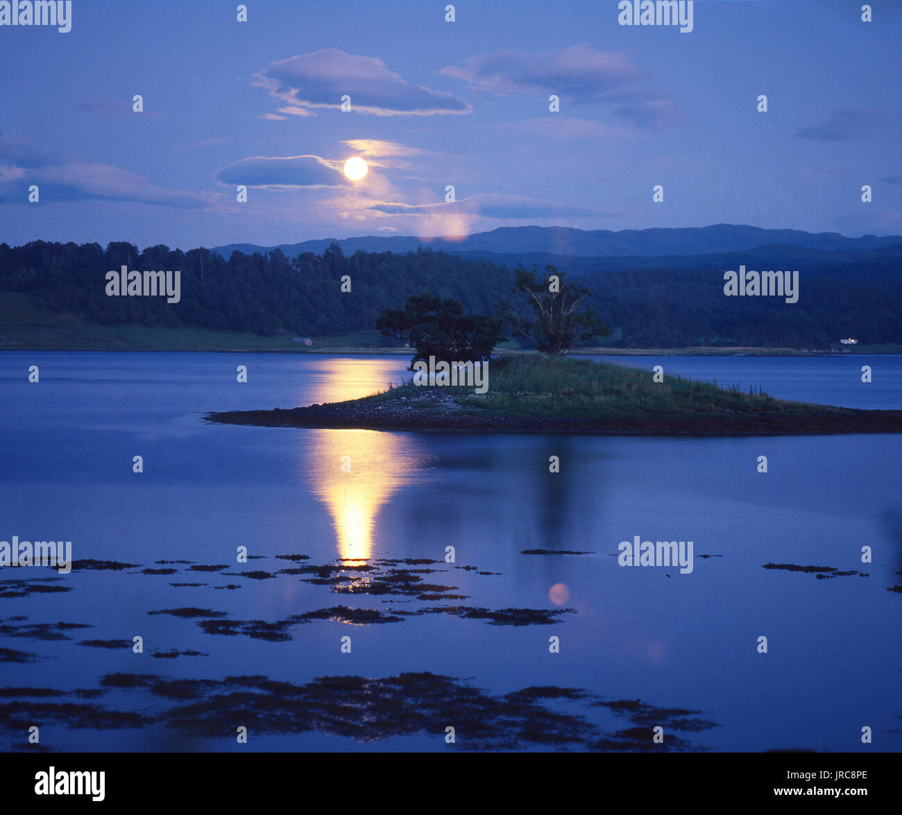 Moonshine reflects on the still waters of Loch Etive, Argyll - Stock Image