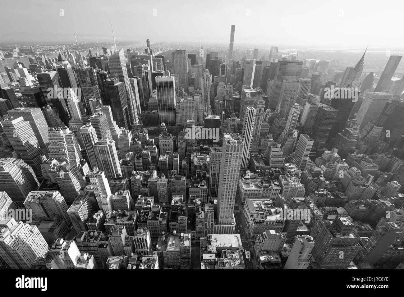 New York City Manhattan Skyline Black And White Aerial View With Skyscrapers Wide Angle