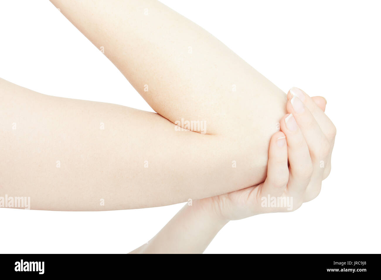 Woman arm with elbow pain and hand isolated on white, clipping path - Stock Image