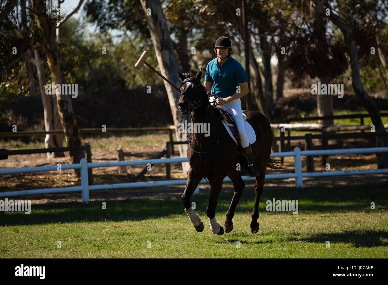 Male jockey riding horse in the ranch on a sunny day - Stock Image