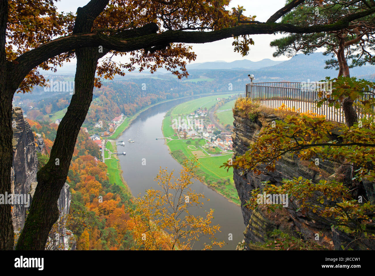 View from viewpoint over the Elbe River in the Elbe Sandstone Mountains in autumn, Saxon Switzerland National Park, Saxony, Germany - Stock Image