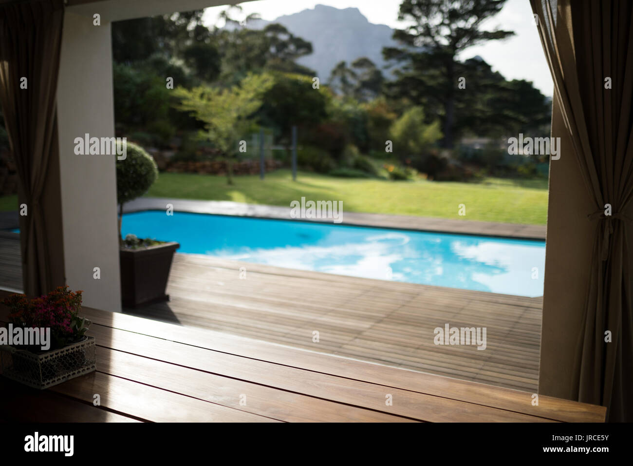 Swimming pool in the front yard of house on a sunny day - Stock Image