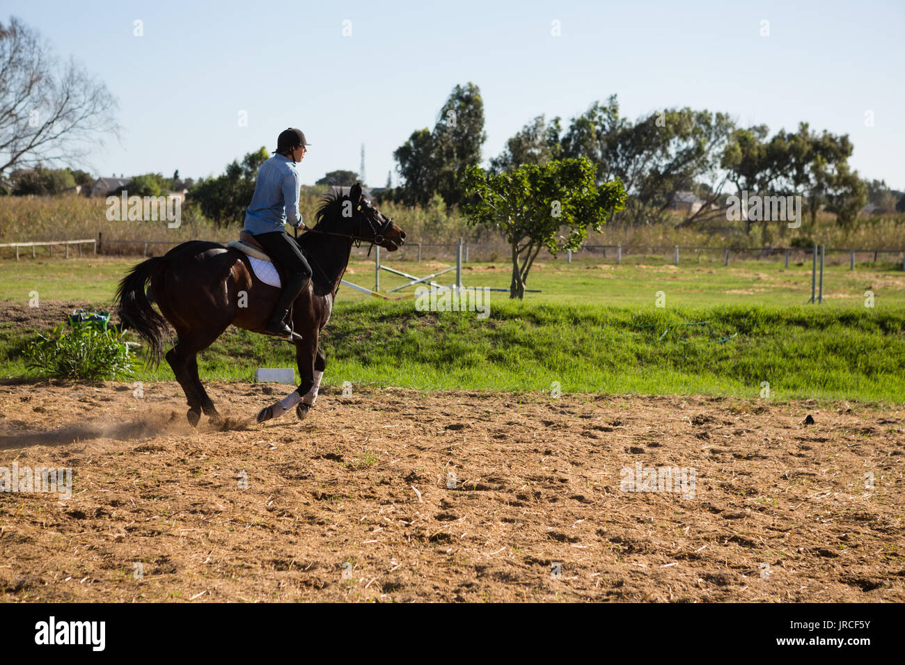 Male jockey riding a horse in the ranch on a sunny day - Stock Image