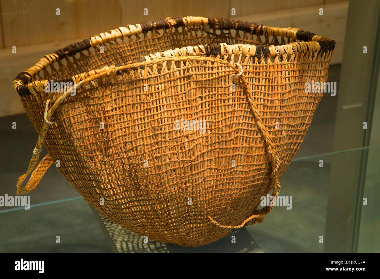 Burden basket, Coos History Museum, Coos Bay, Oregon - Stock Image