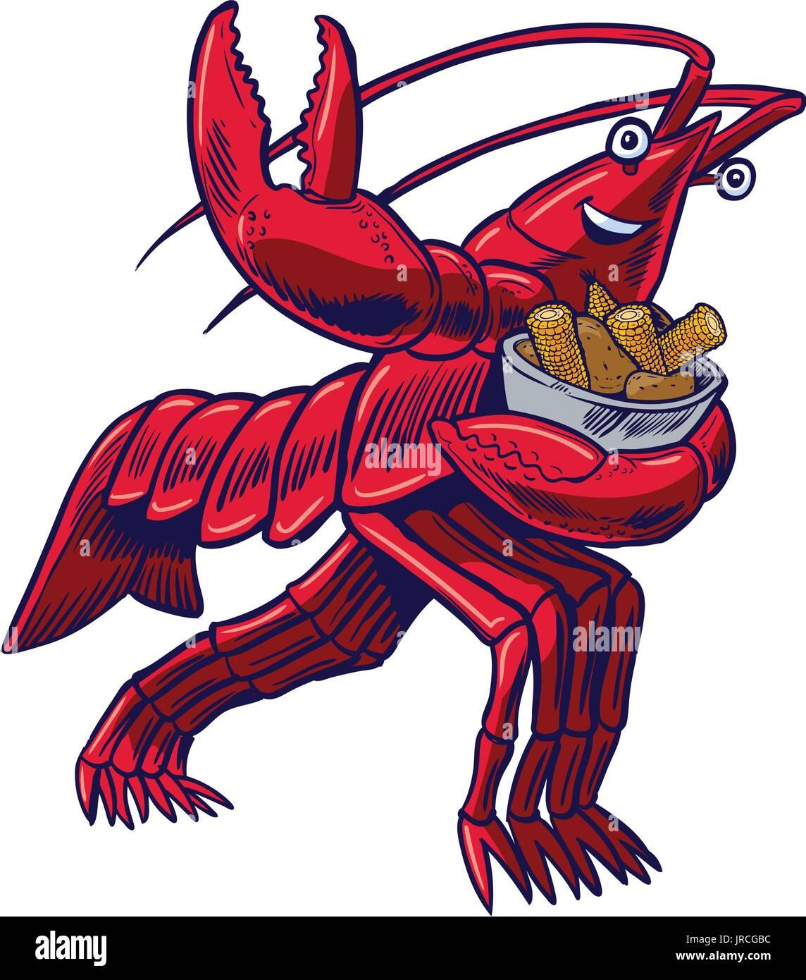 vector cartoon clip art illustration of a crayfish crawfish stock rh alamy com crawfish boil clip art free crawfish boil pot clipart