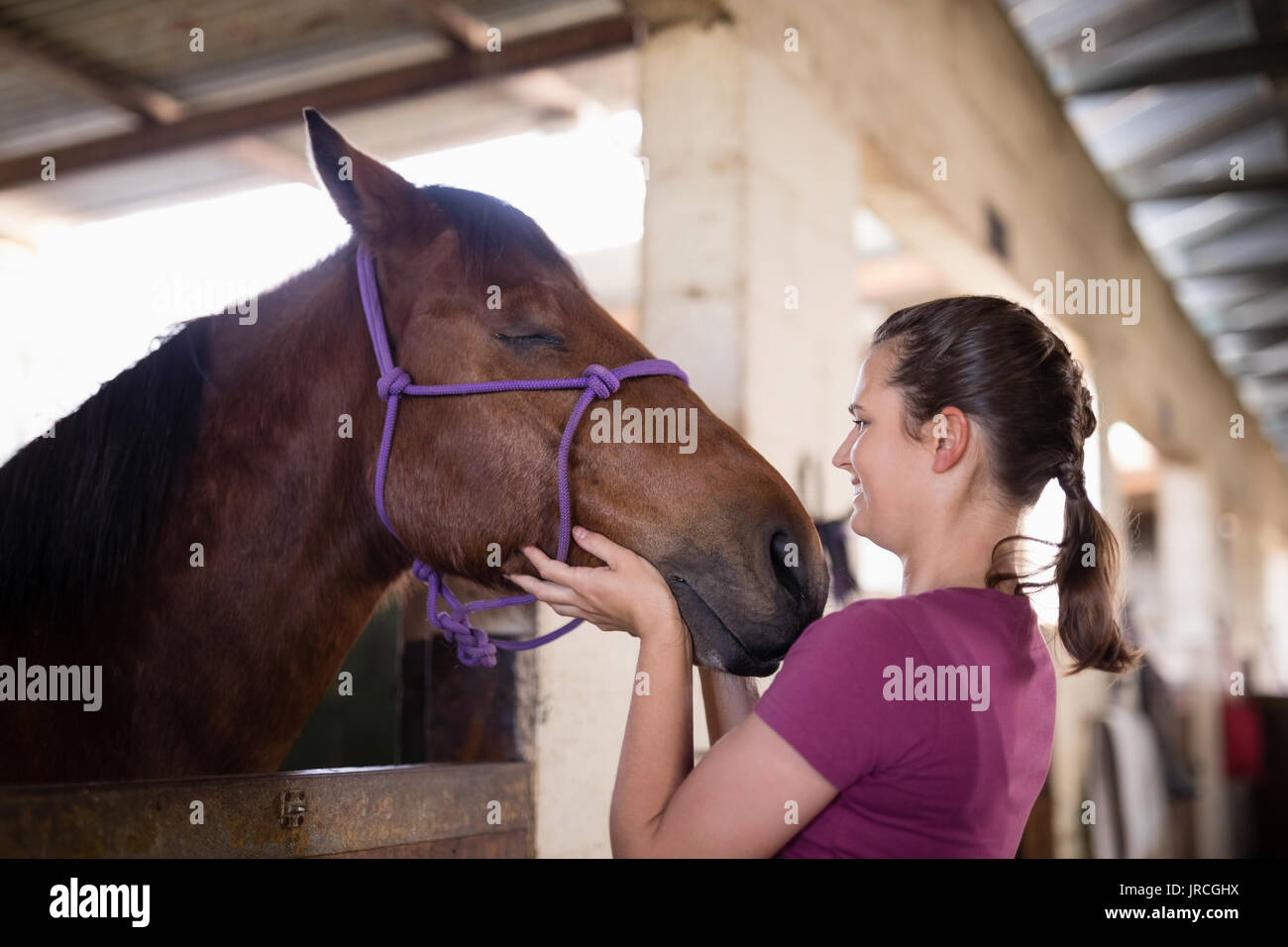 Side view of female jockey holding horse head while standing in table - Stock Image
