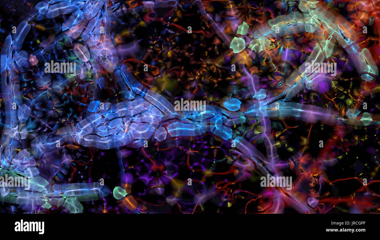 Abstract fractal micro organisms on a black background. - Stock Image