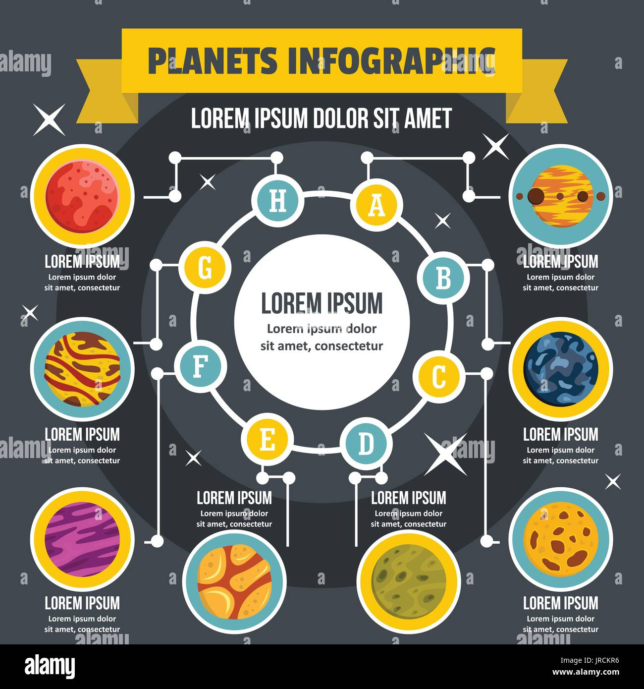 Planets infographic concept, flat style - Stock Vector