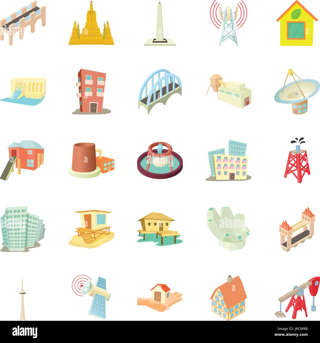 Edifice icons set, cartoon style - Stock Image