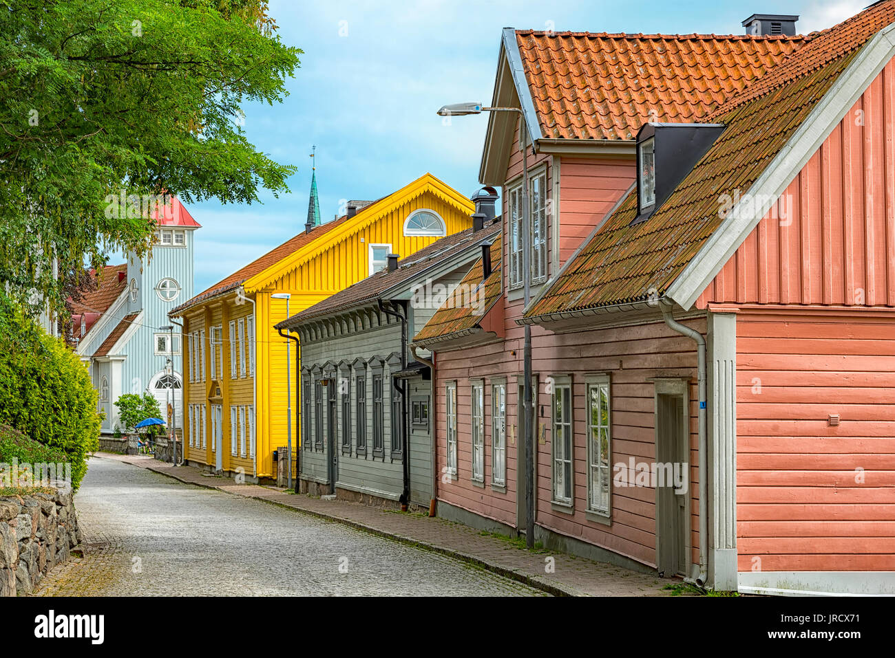 Street scene from the Swedish town of Kungalv. - Stock Image