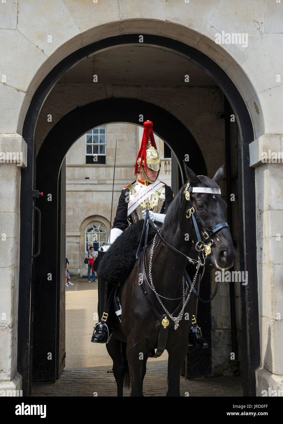 Rider of the Horse Guards, barracks of the Household Cavalry elite troops, Whitehall Street, London, England, United Stock Photo
