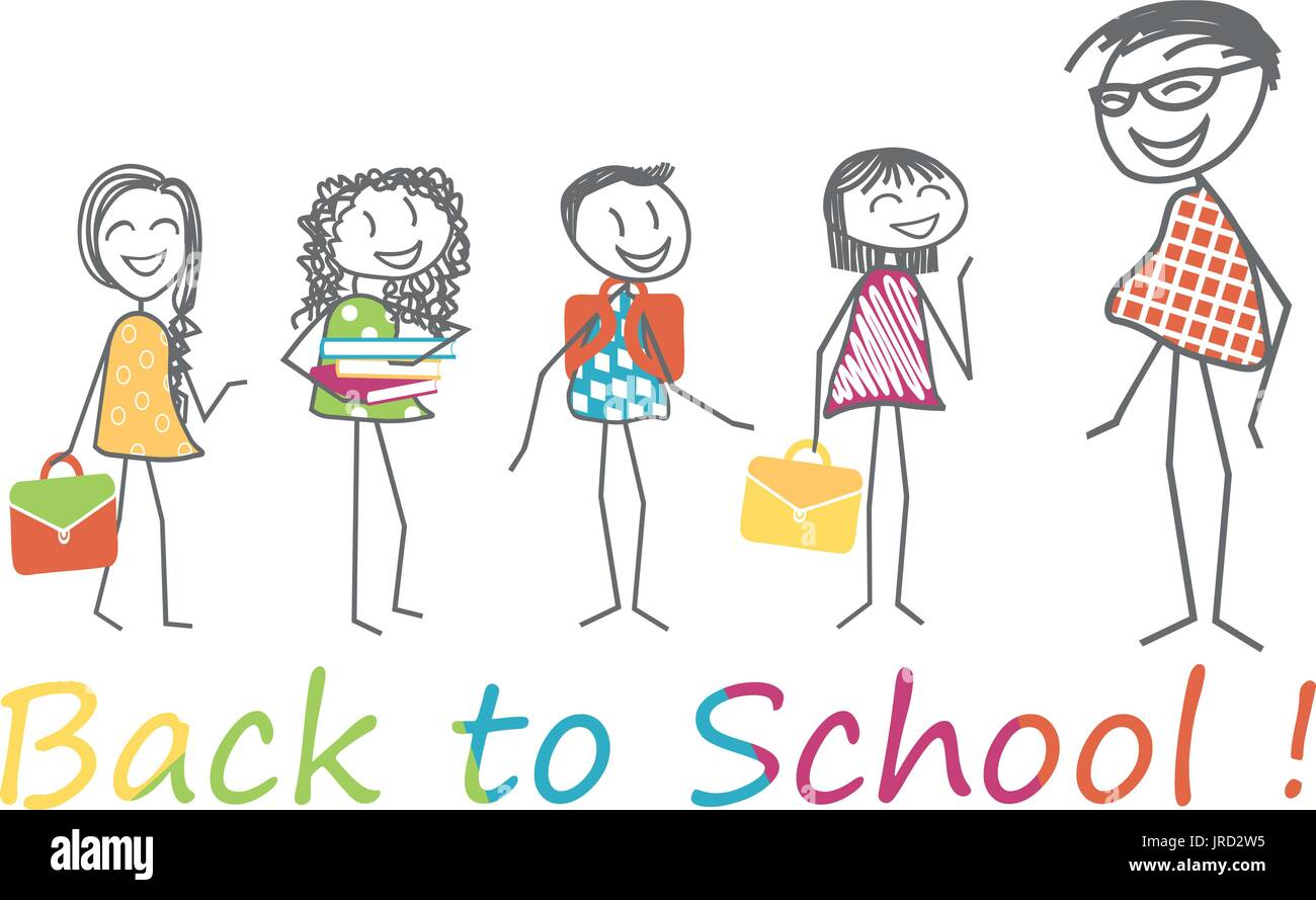 Children with their school satchel and books in arms are ready for back to school with teacher - Stock Vector