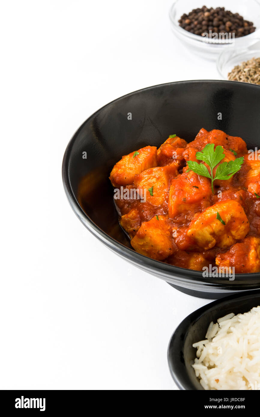 Chicken Tikka Masala And Rice In Bowl Isolated On White