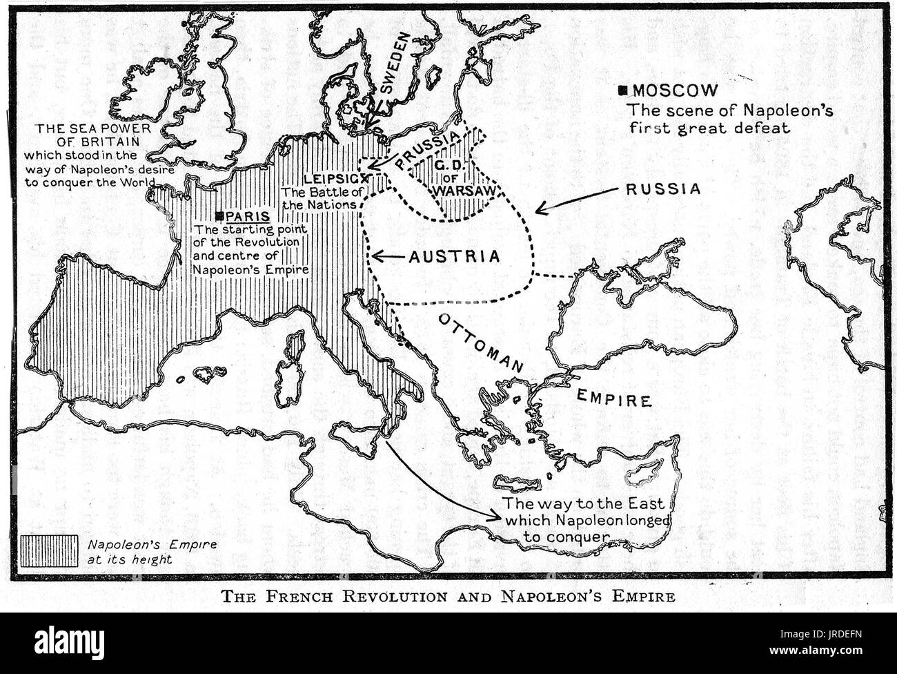 A 1926 children's school map showing Napoleons Empire and the French Revolution regions Stock Photo