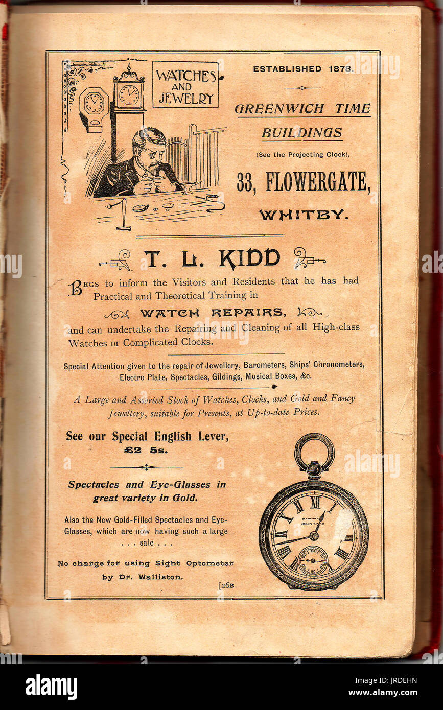 Advert and portrait of a   watch & clock maker T. L. Kidd-  Cook's Whitby trade directory 1899 - Stock Image