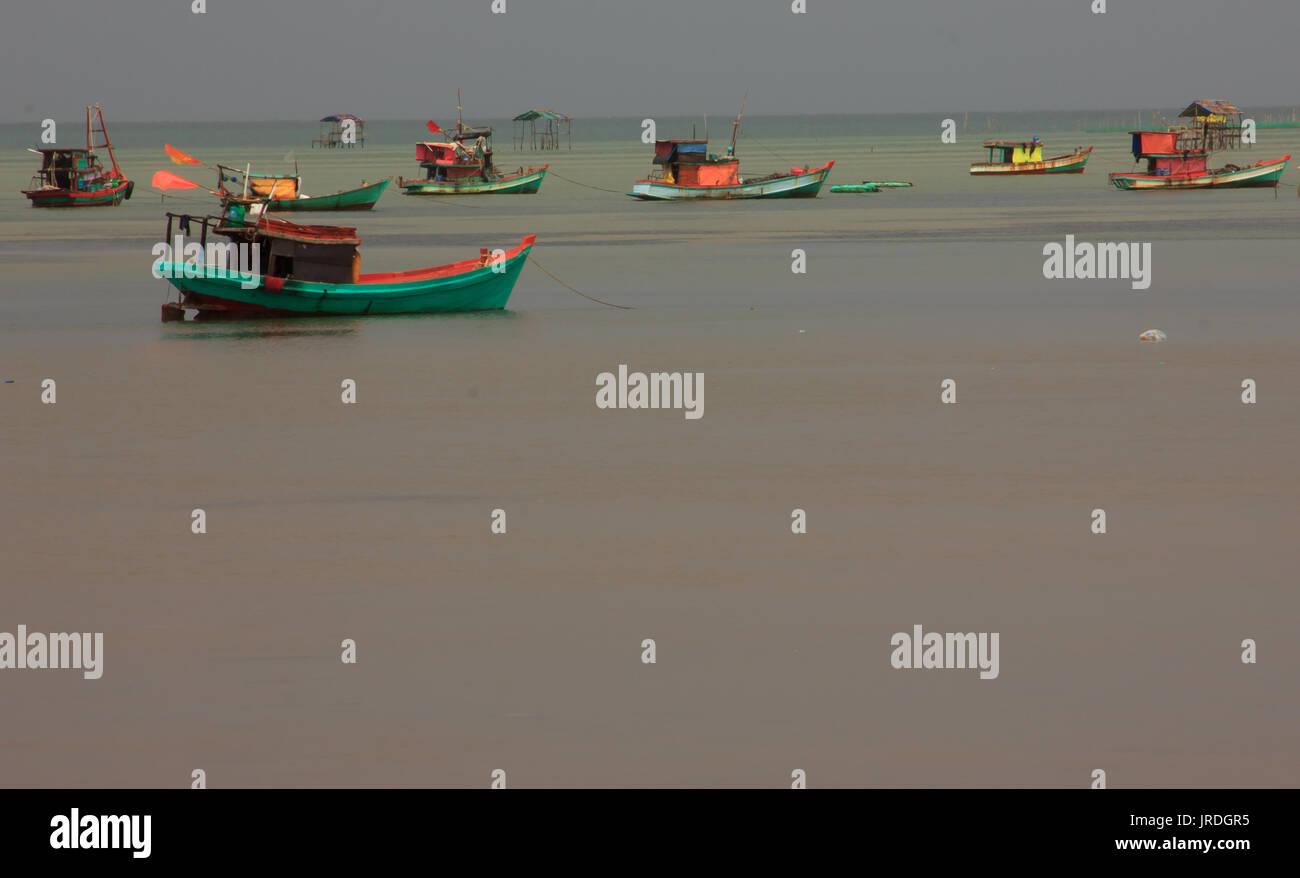Fishing Boats at Fishing Village on a cloudy day, Phu Quoc, Kien Giang Province, Vietnam - Stock Image