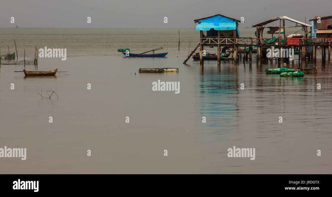 Fishing Boat at Fishing Village on a cloudy day, Phu Quoc, Kien Giang Province, Vietnam - Stock Image