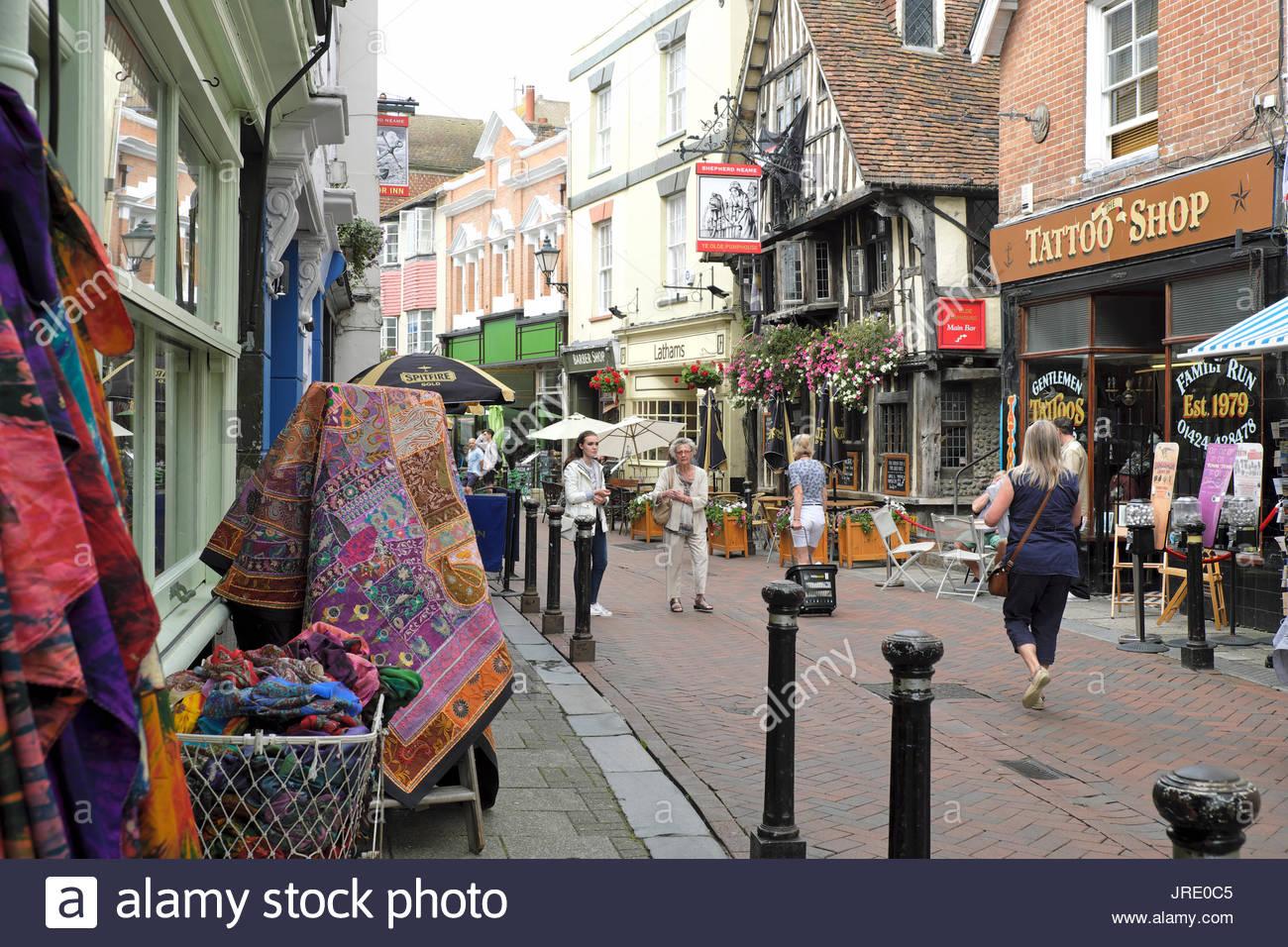 Retro Shop In Hastings Town Westhill Arcade George: George Street Hastings Shops Stock Photos & George Street