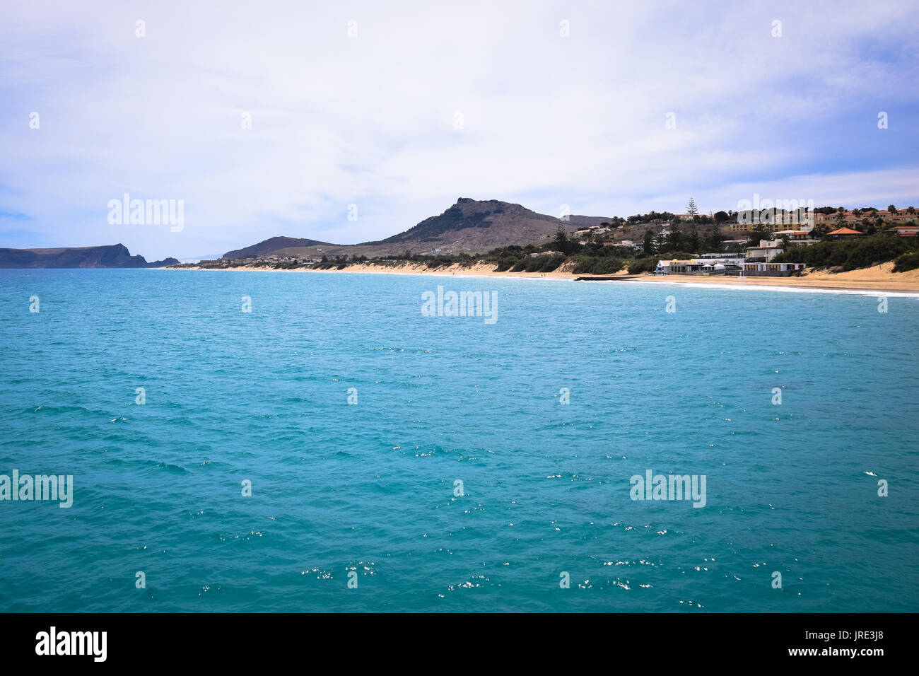 The beach of Porto Santo from the pier at Vila Baleira - Stock Image
