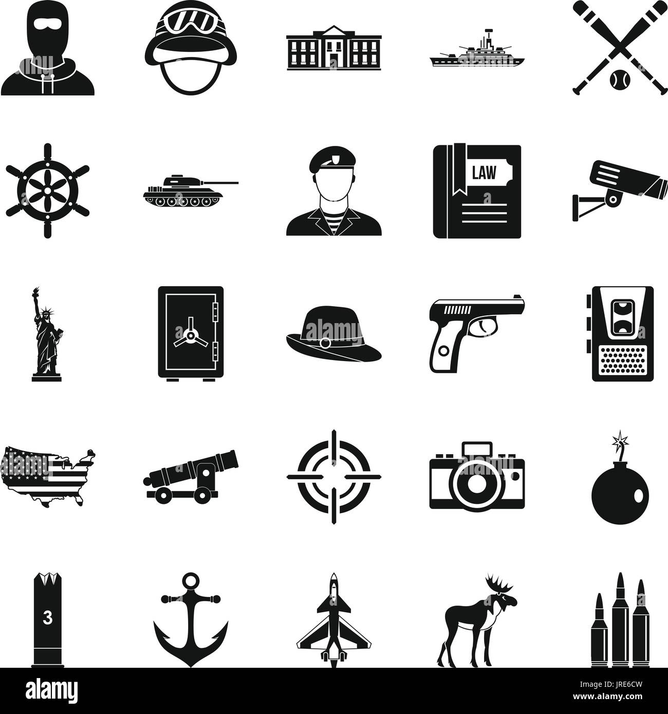 Bullet icons set, simple style - Stock Image