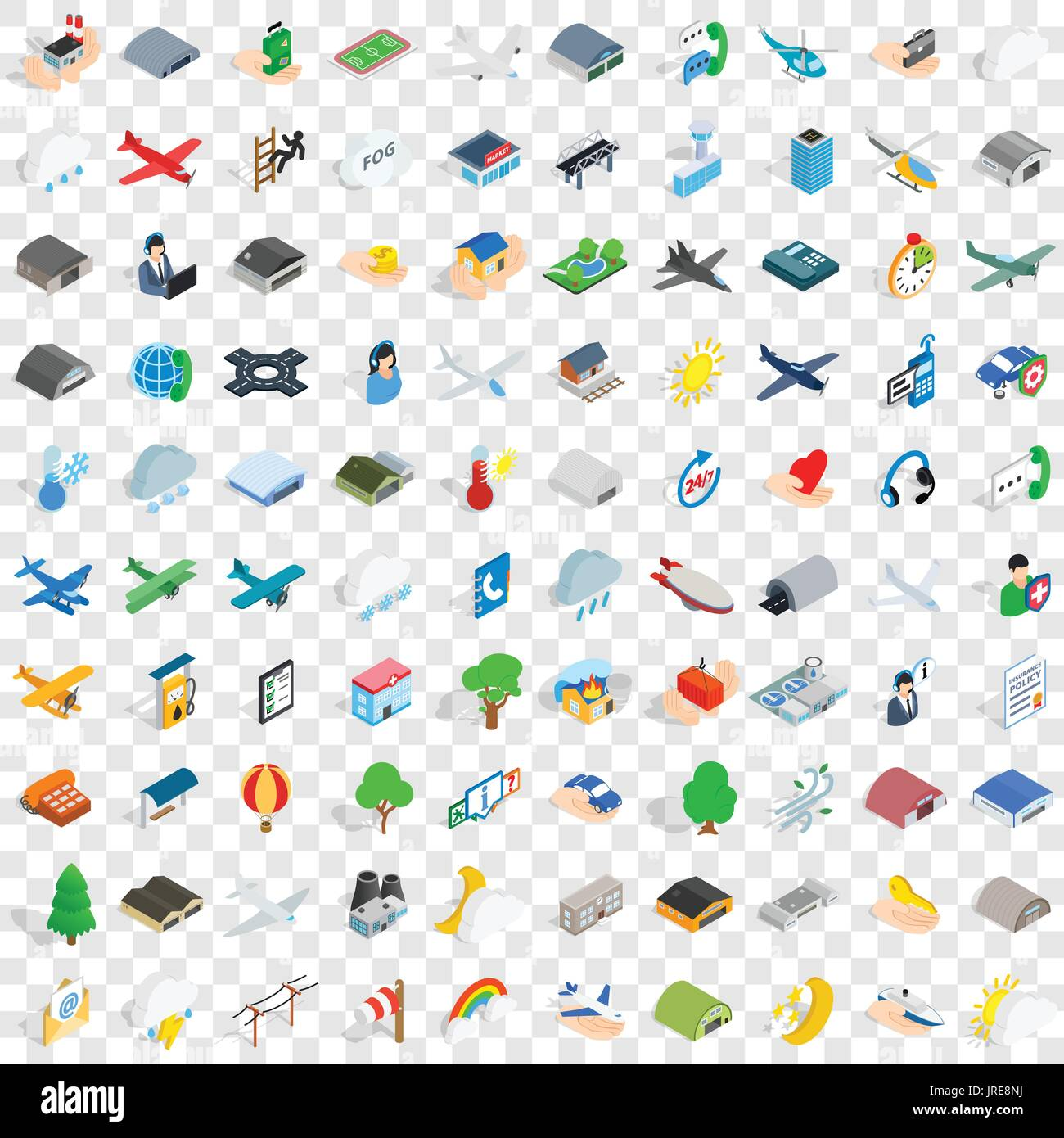 100 aviation icons set, isometric 3d style Stock Vector