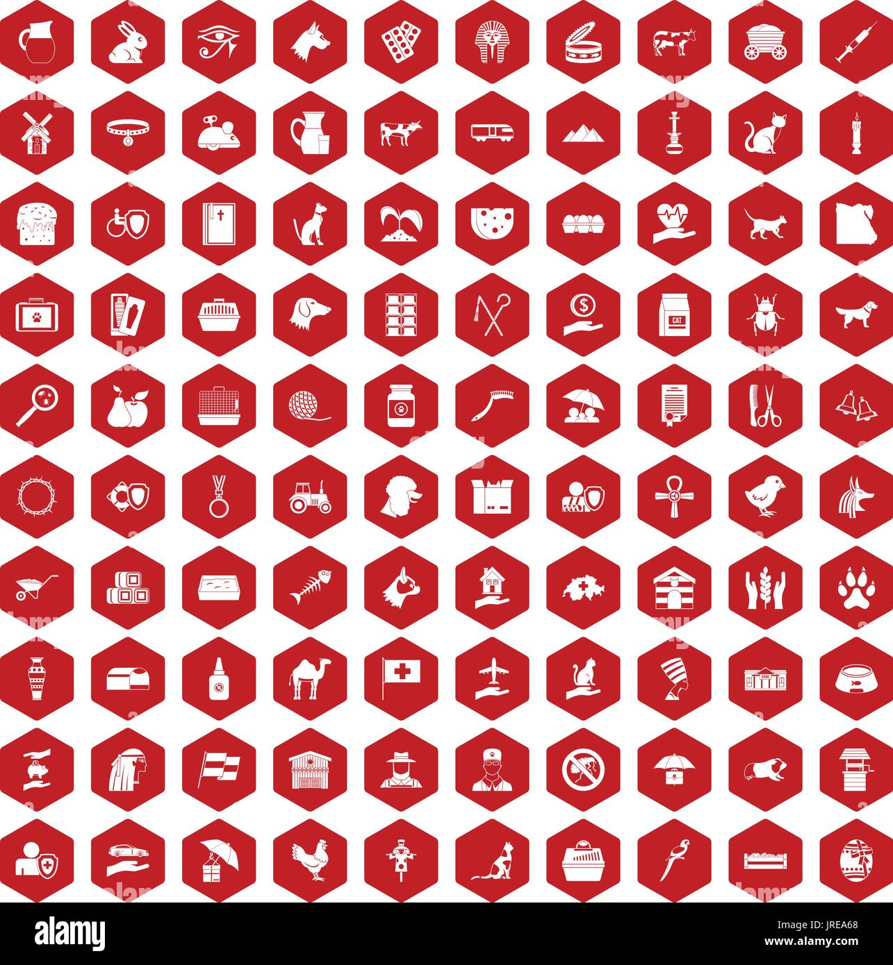 100 pets icons hexagon red - Stock Image