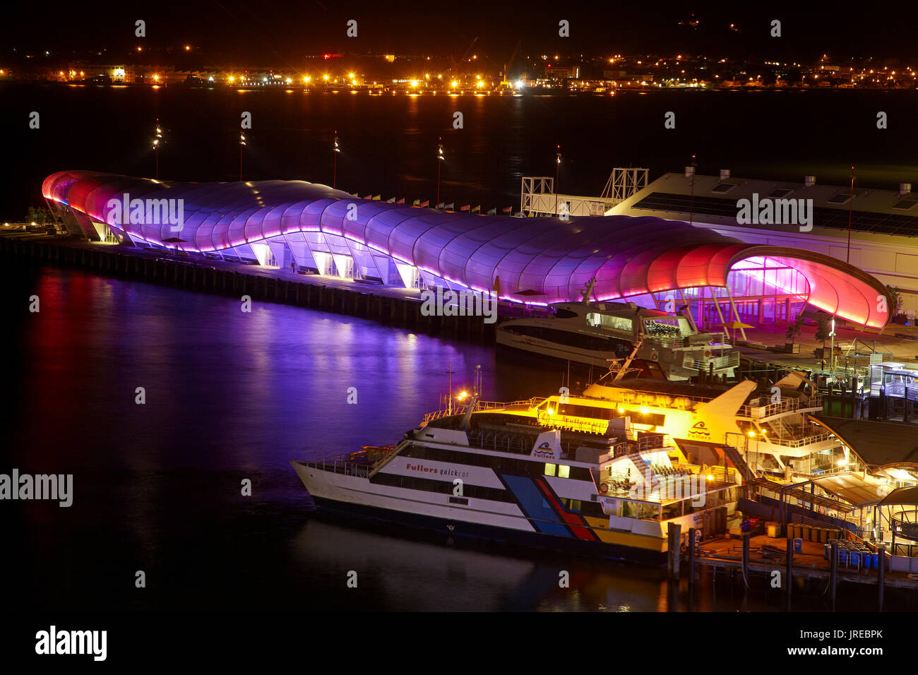 Colourful lighting on 'The Cloud' events building, Queens Wharf, Auckland, North Island, New Zealand - Stock Image