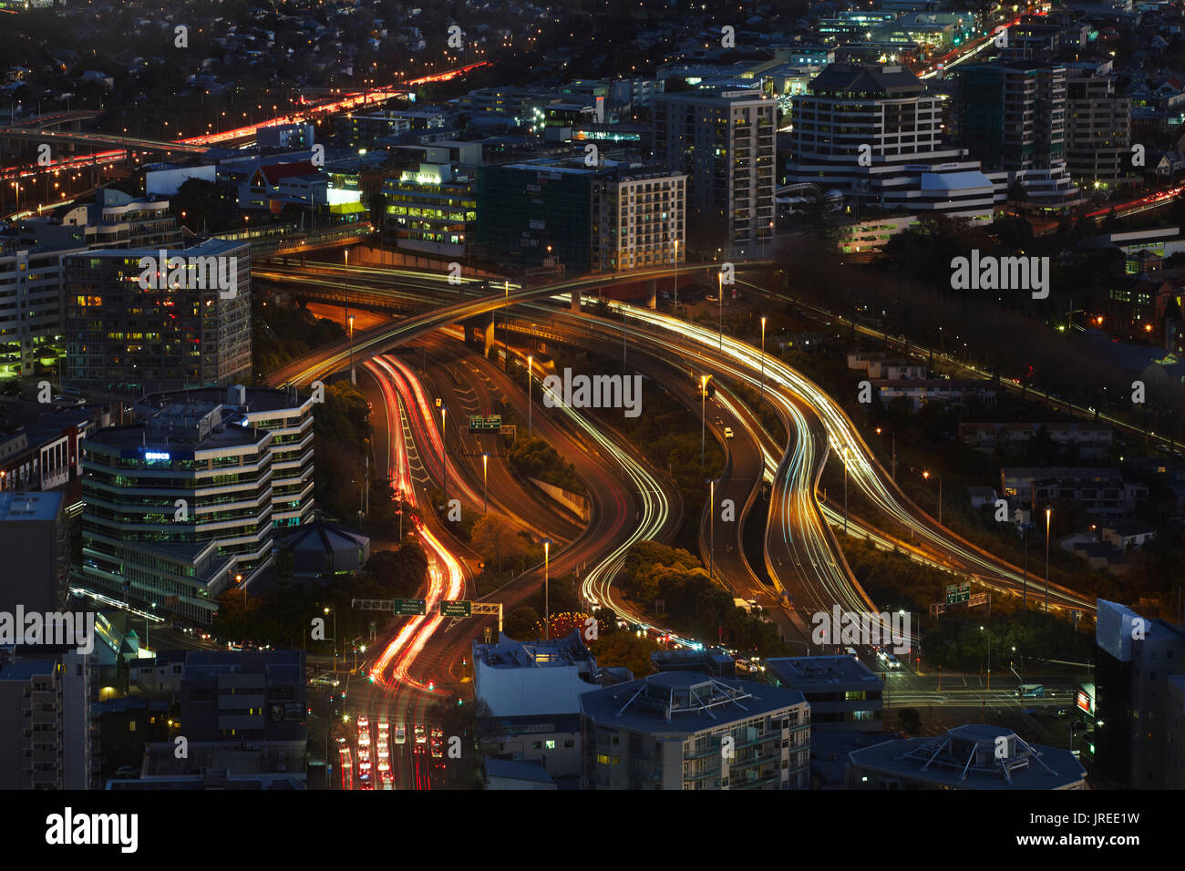Motorways viewed from Sky Tower, Auckland, North Island, New Zealand - Stock Image