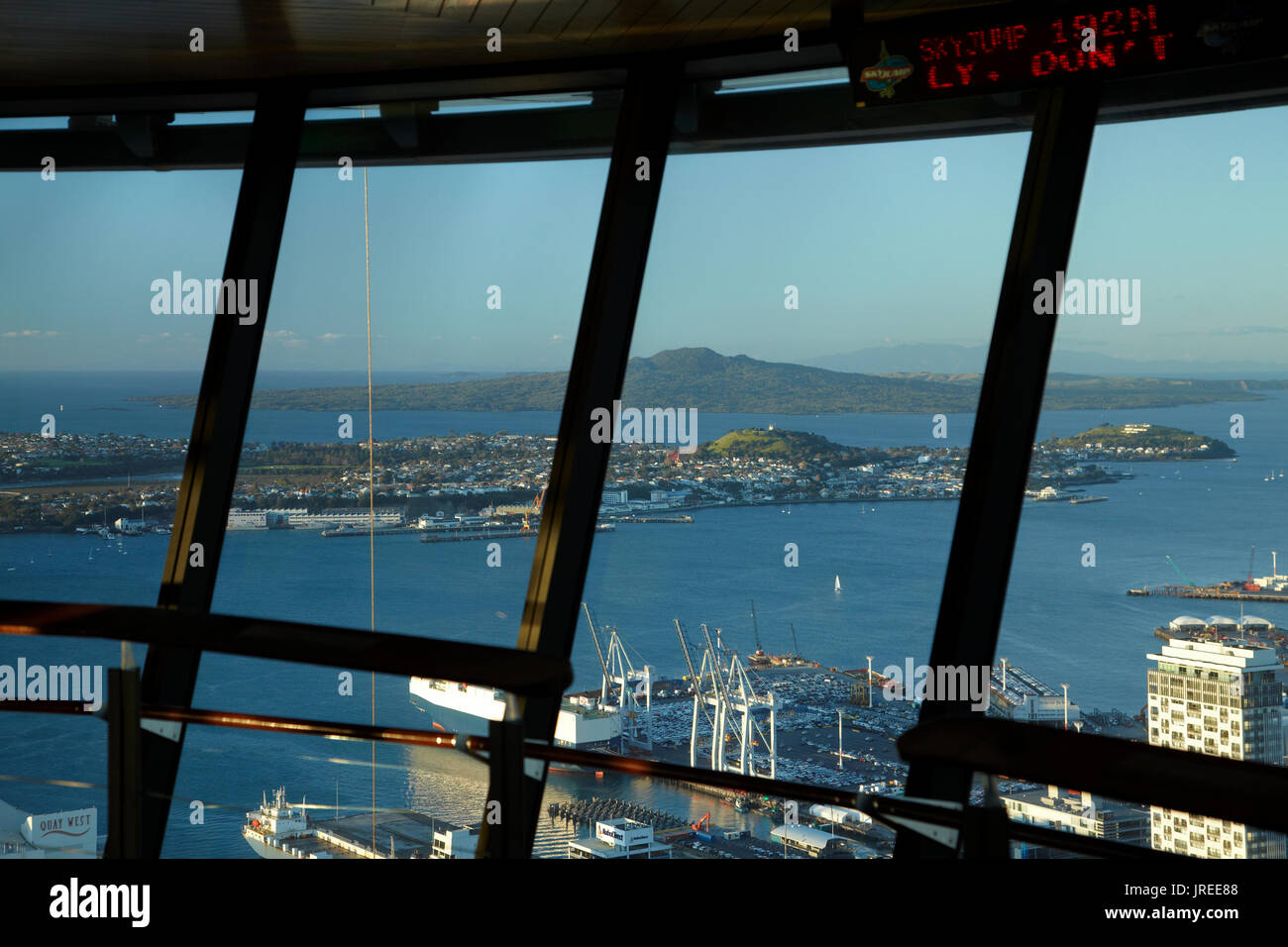 View of Waitemata Harbour from Sky Tower, Auckland, North Island, New Zealand - Stock Image