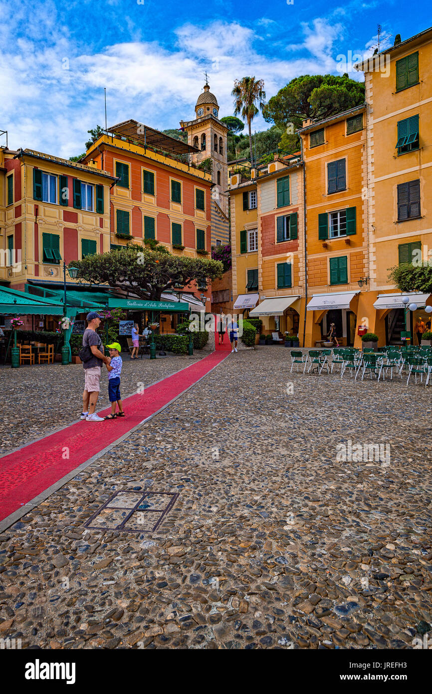 Italy Liguria Mount of Portofino Park - Portofino - the Piazzetta  ( red carpet - the longest red carpet in the world, which comes from Rapallo to Portofino in a path of 8 Km ) - Stock Image
