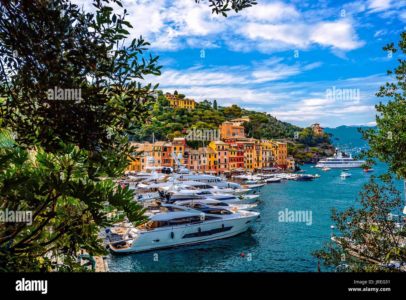 Italy Liguria Mount of Portofino Park - Portofino Bay - Stock Image