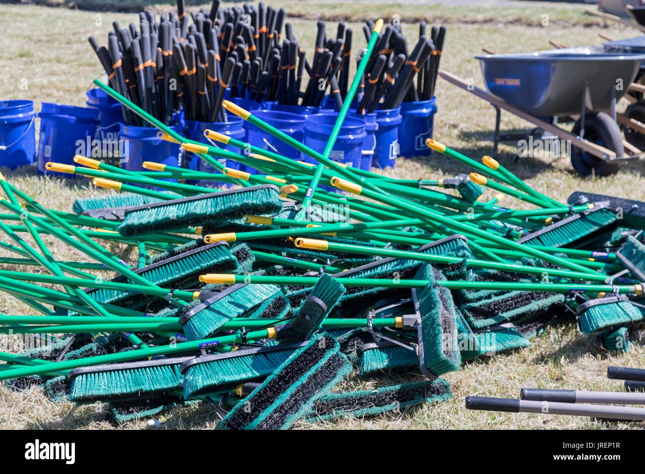 Detroit, Michigan - Equipment is ready for some of the thousands of volunteers who participate in an annual community improvement project called Life  - Stock Image