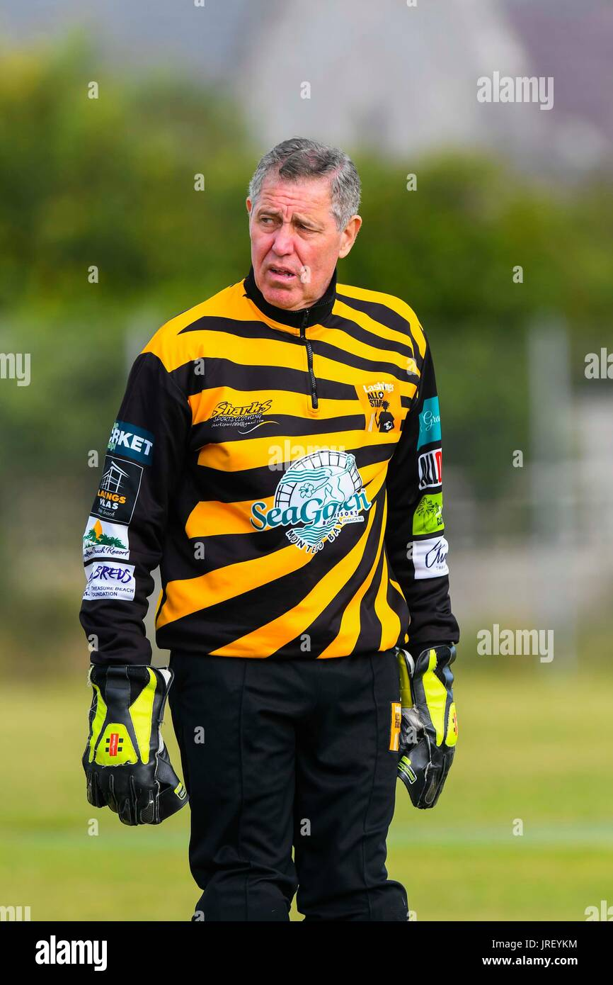 Easton, Portland, Dorset, UK.  4th August 2017.  Lashings wicket keeper David Smith during the Portland Red Triangle match v Lashings All Stars at the Reforne cricket ground at Easton in Dorset.  Photo Credit: Graham Hunt/Alamy Live News - Stock Image