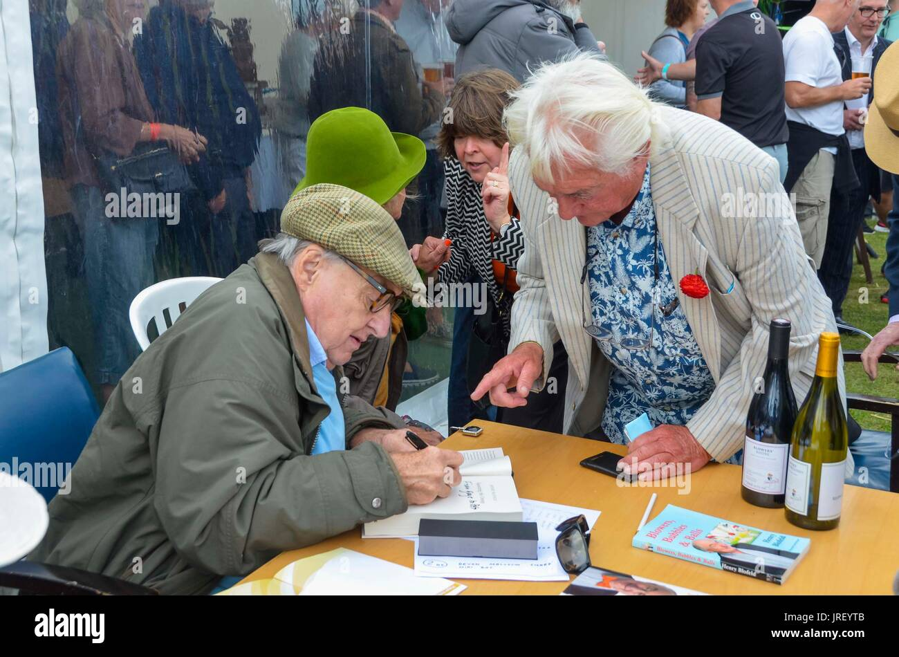 Easton, Portland, Dorset, UK.  4th August 2017.  Legendary cricket commentator Henry Blofeld book signing during Stock Photo
