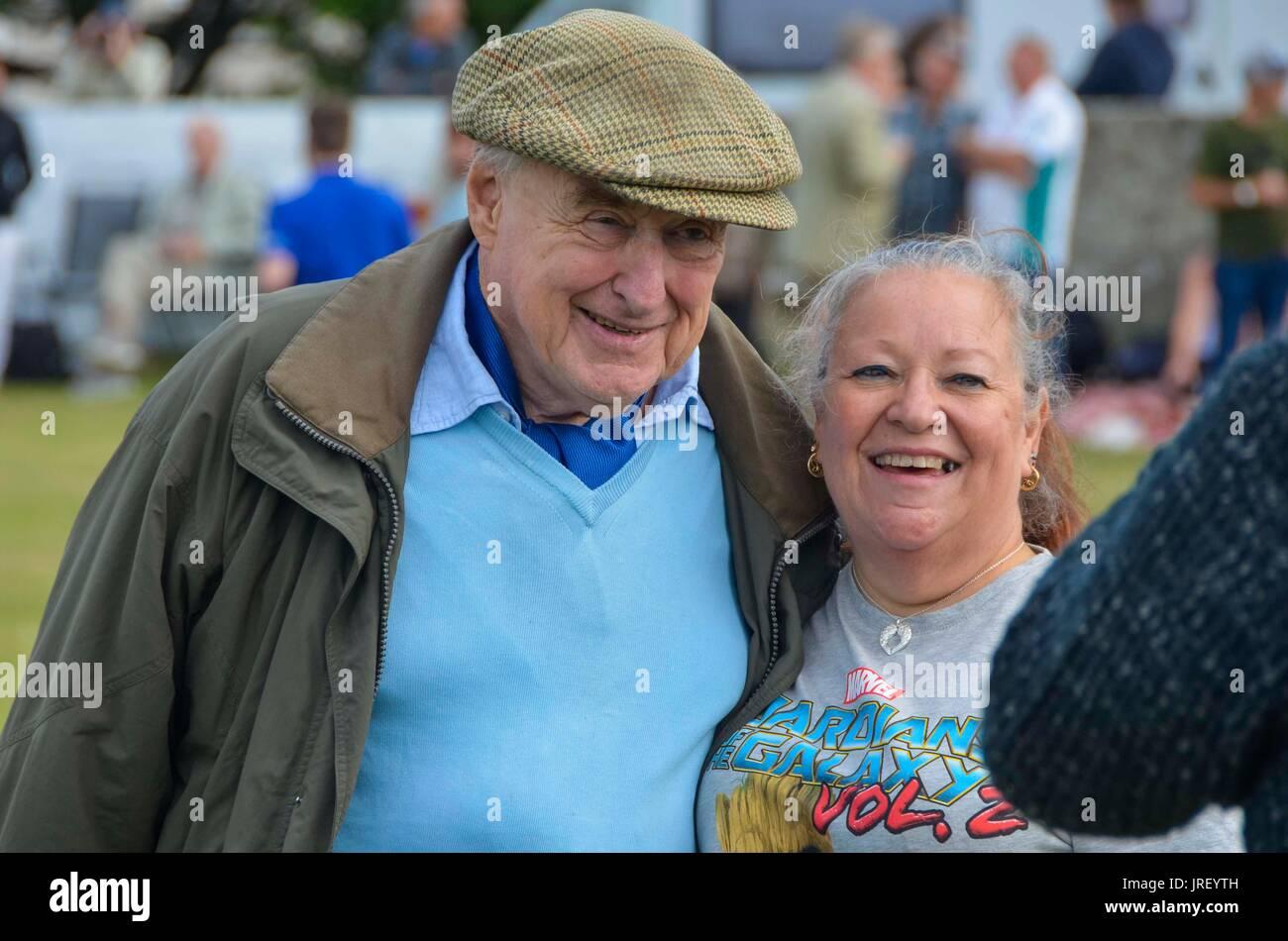 Easton, Portland, Dorset, UK.  4th August 2017.  Legendary cricket commentator Henry Blofeld during the Portland Stock Photo