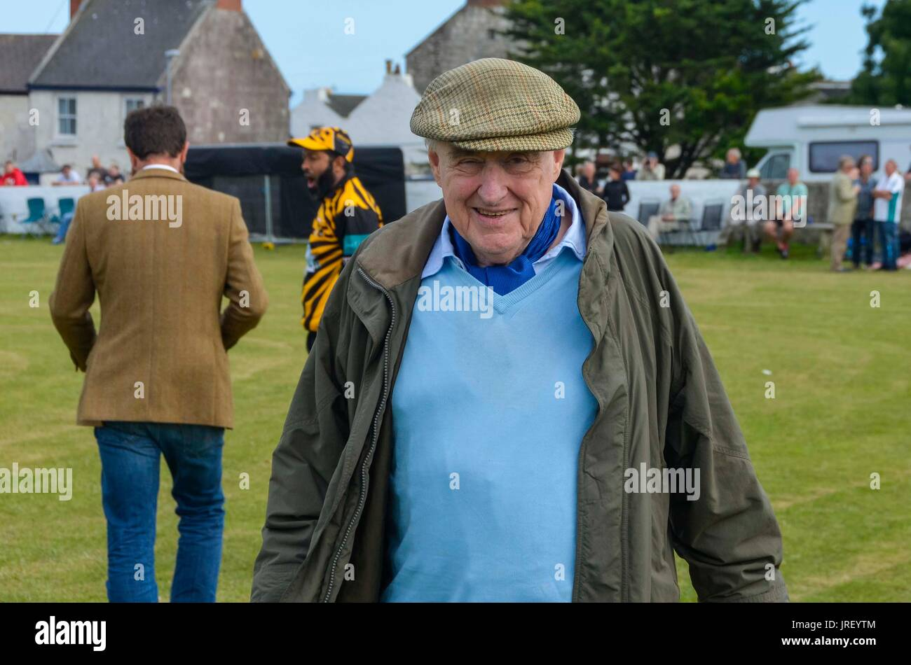 Easton, Portland, Dorset, UK.  4th August 2017.  Legendary cricket commentator Henry Blofeld during the Portland Stock Photo