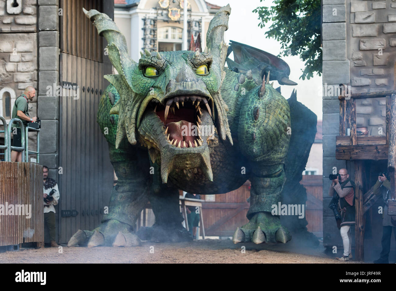 """Scene of the folk play """"The Dragon Sting"""" during the general rehearsal in Furth im Wald, Germany, 03 August 2017. Stock Photo"""