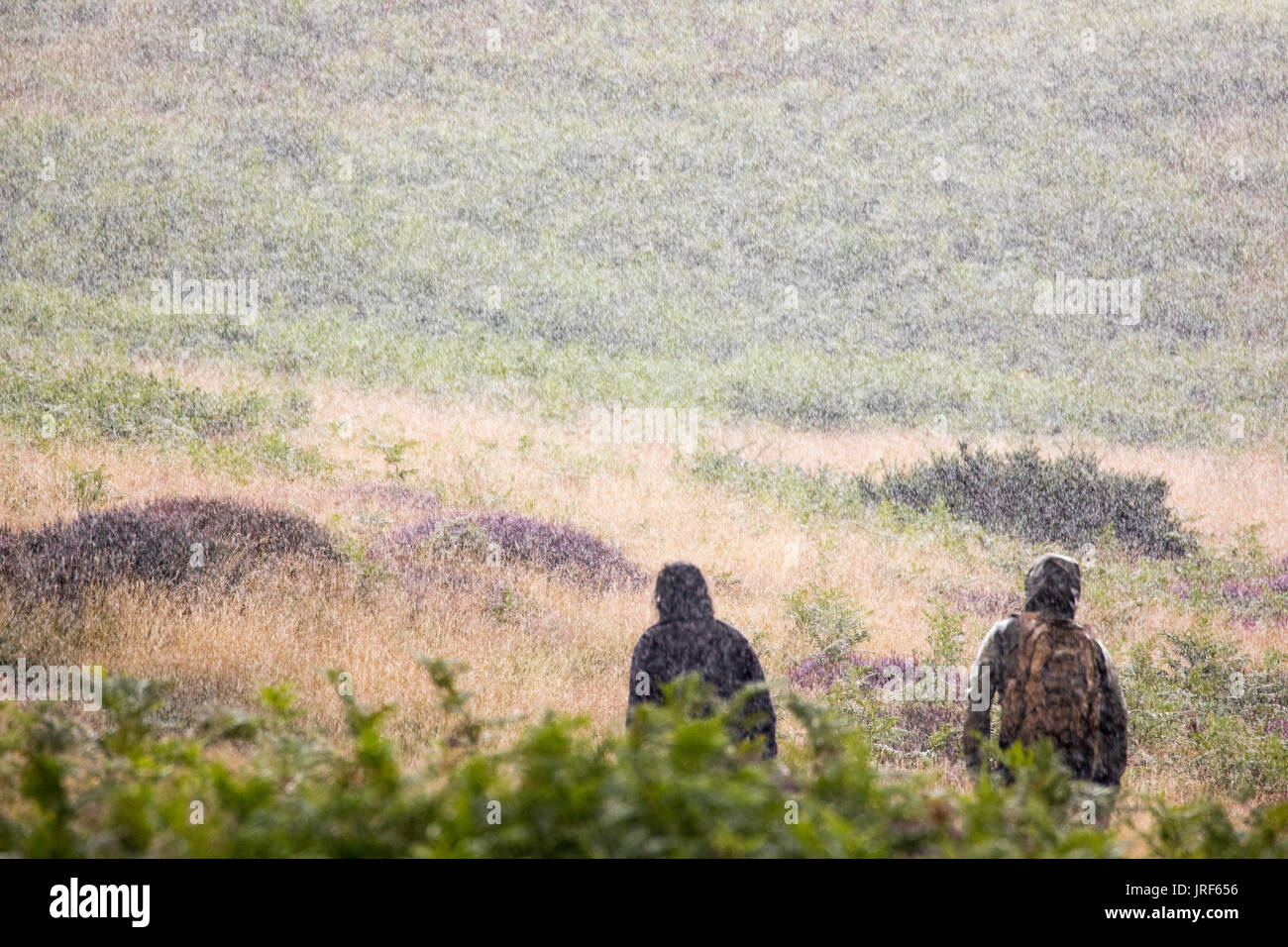 Tow male men hill walkers walking in wet weather gear during a torrential summer downpour along the path up towards Moel Arthur in the Clwydian Range hills, Flintshire, Wales, UK - Stock Image