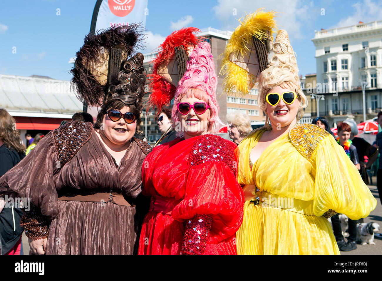 This is the Brighton Pride 2017 Parade. A carnival atmosphere promoting rights for the LGBTQ  community. The parade proceeded along the seafront of Brighton & Hove commencing at 11:00 am from Hove Lawns along the seafront and through Brighton city centre. 5th August 2017. - Stock Image