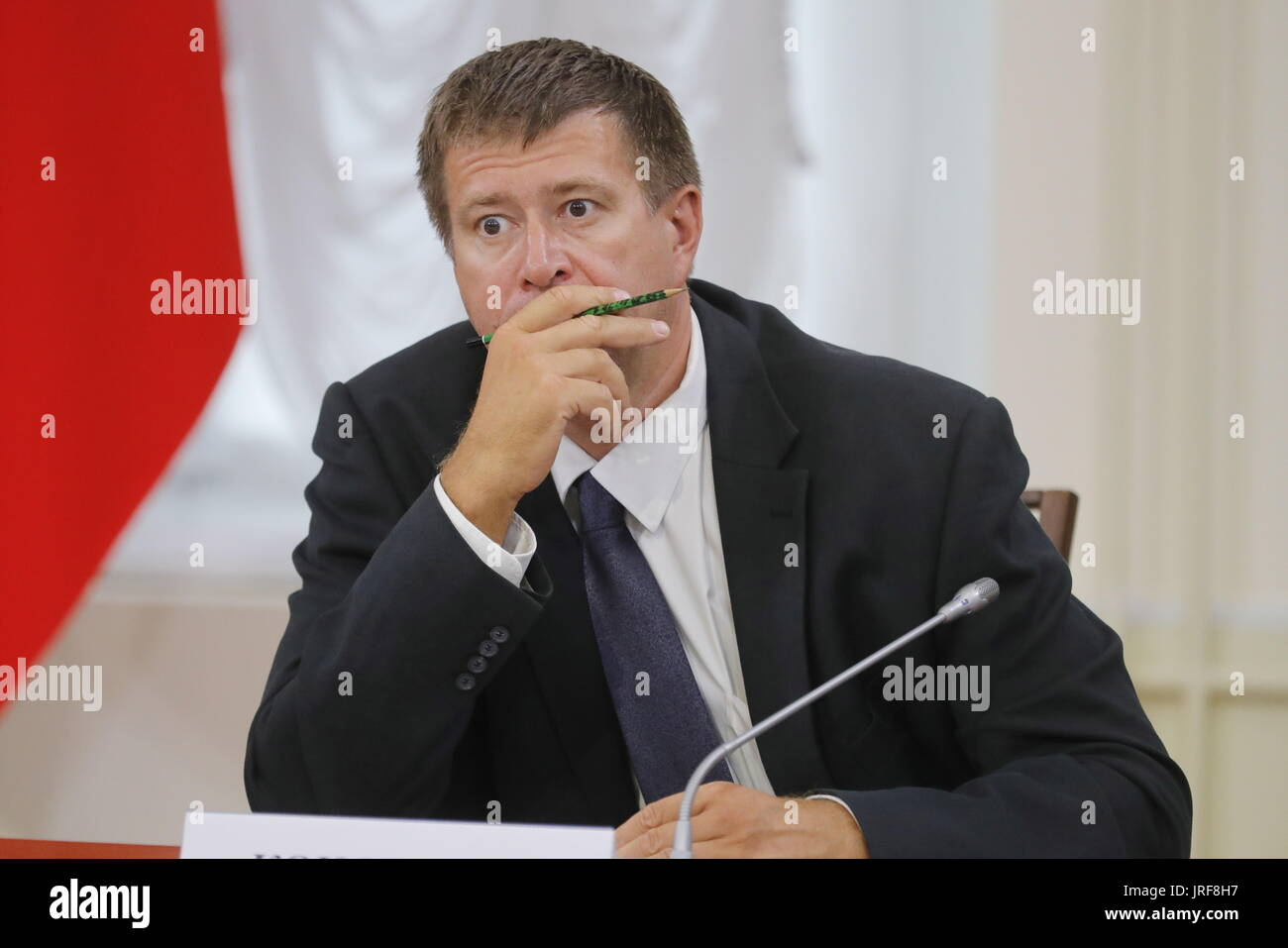 Kirov, Russia. 5th Aug, 2017. Russia's Justice Minister Alexander Konovalov attends a meeting of the Russian Presidential Council for the Local Self-Government Development. Credit: Mikhail Metzel/TASS/Alamy Live News - Stock Image