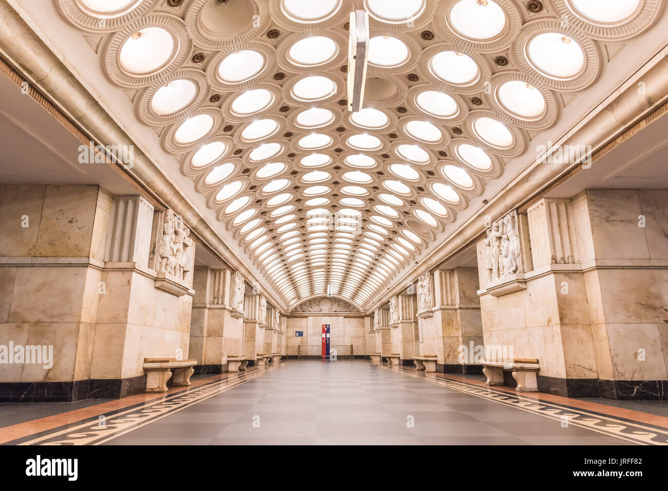 Moscow, Russia – July 09, 2017: Interior of Elektrozavodskaya Metro Station in Moscow, Russia. Elektrozavodskaya Stock Photo