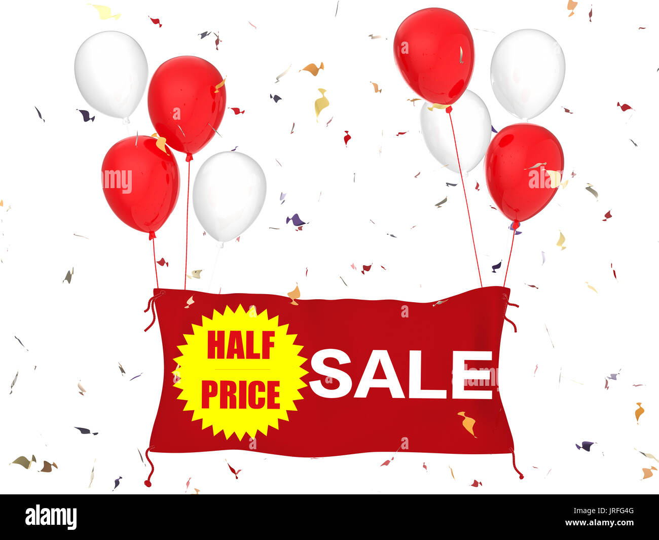 3d rendering half price sale banner on red cloth, red