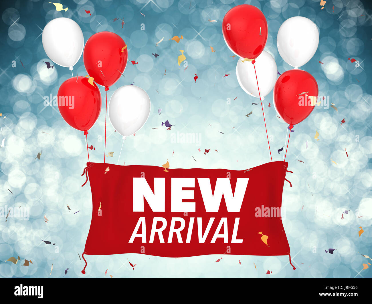 3f46ee14 3d rendering new arrival concept with red cloth banner, red balloons and  confetti